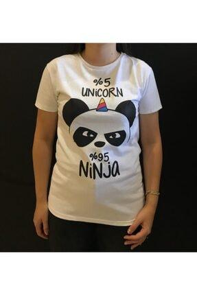 Panda Unisex Beyaz %5 Unicorn %95 Ninja Yazılı T-shirt