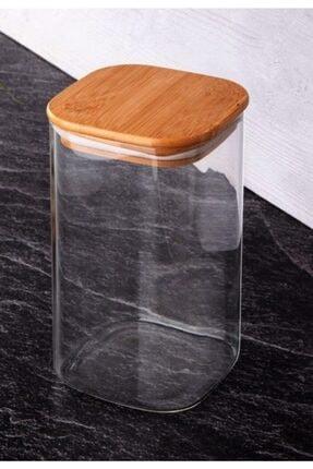 Paçi - Bambu Kapak 2x1100 Ml Kare Borosilikat Cam Saklama Kabı - ( 2 Adet )