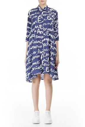 Emporio Armani Kadın Lacivert Yazılı Gömlek Yaka Mini Elbise 262577 0p343 19934