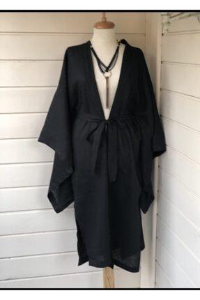 etamincebursa Kadın Siyah Uzun Kimono