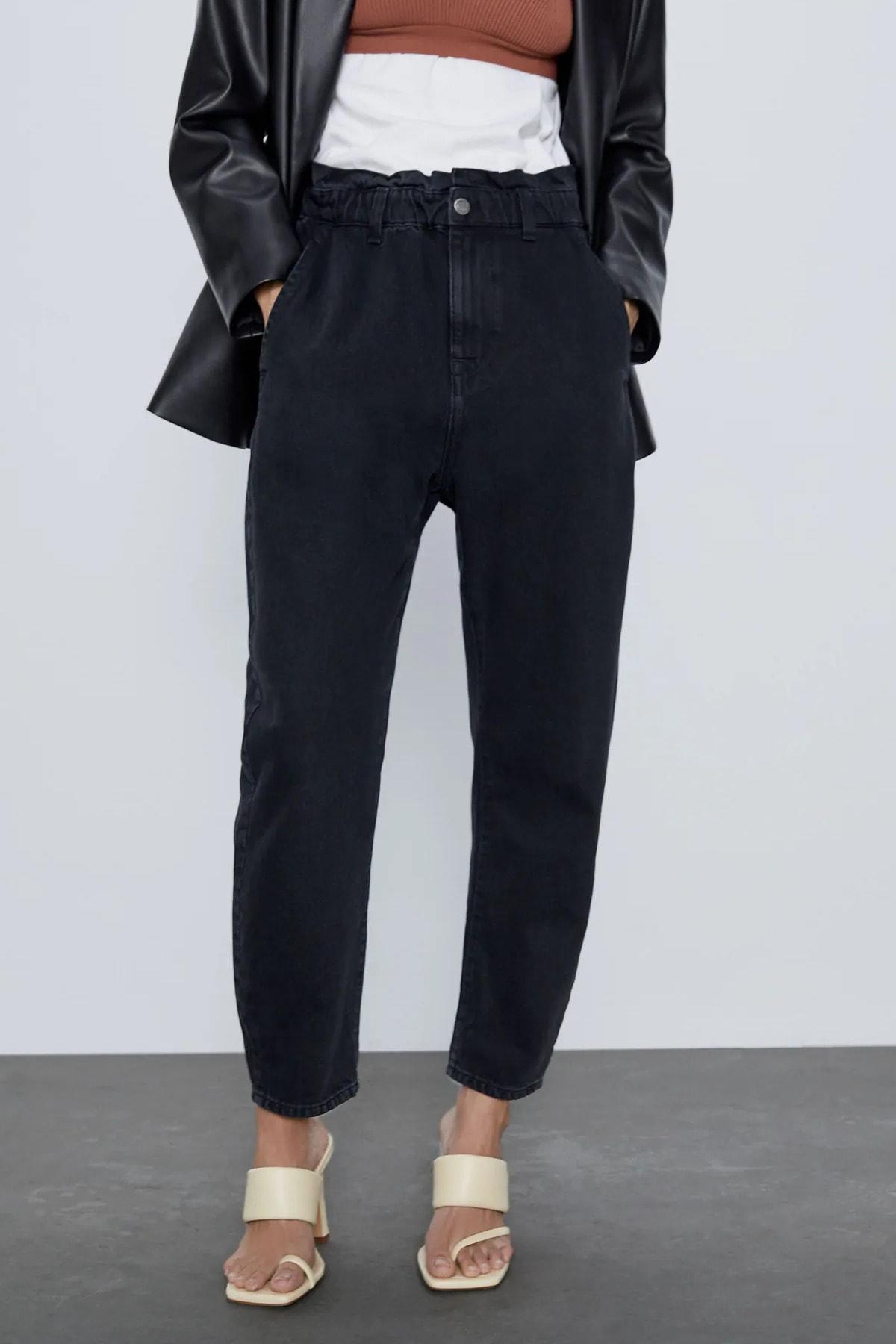 Beyaz Giyim Moda Kadın Siyah Paperbag Jeans Yüksek Bel Kot Pantolon 1