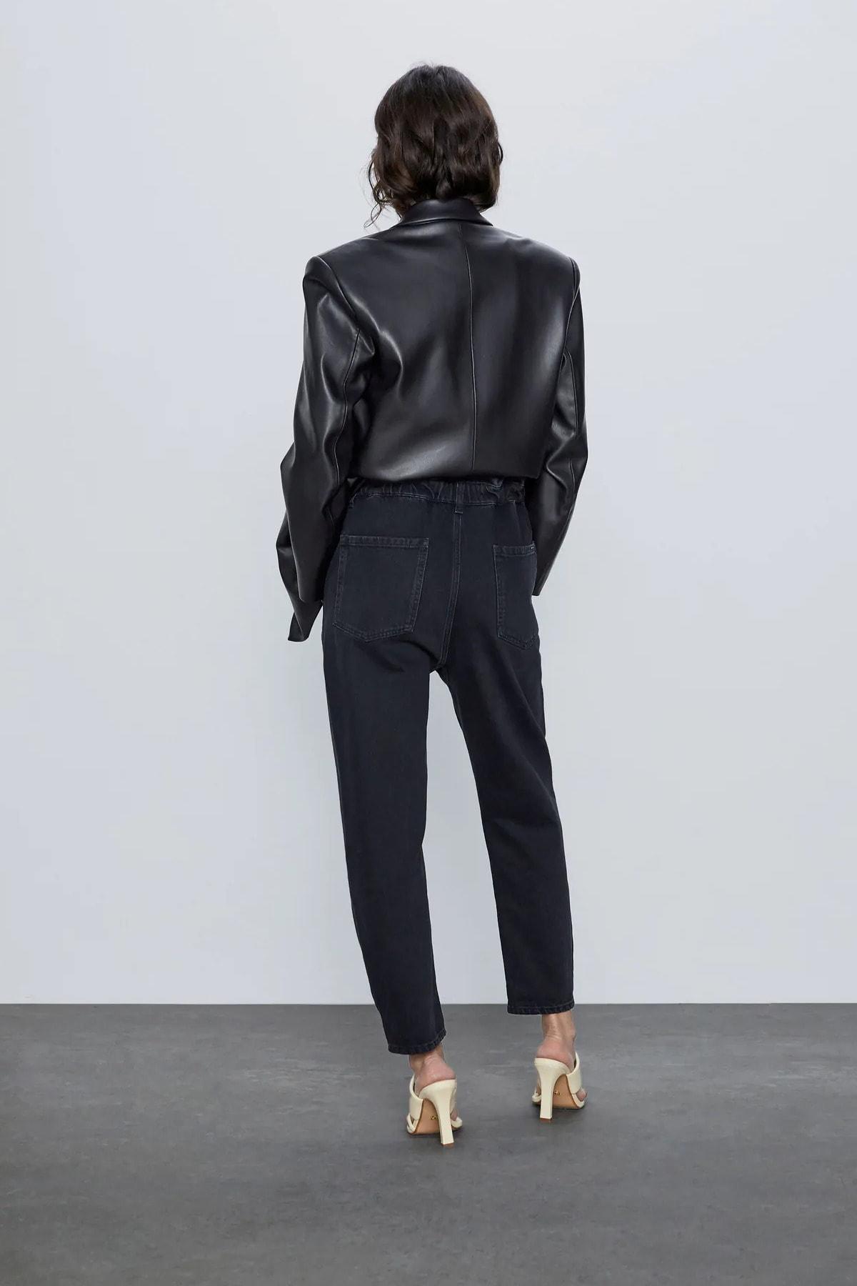Beyaz Giyim Moda Kadın Siyah Paperbag Jeans Yüksek Bel Kot Pantolon 2