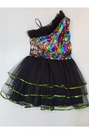 Dıgıl Kids Kız Çocuk Siyah Pul Payetli Tek Omuz Elbise