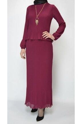 Sude Pilise Modelli Şık Bayan Tesettür Abiye Elbise