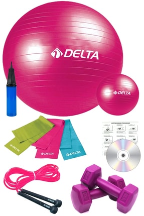 Delta 11 Li Pilates Takımı Seti 3 Lü Pilates Bandı Lastiği 1kg Dambıl Atlama Ipi Plates Topu Set