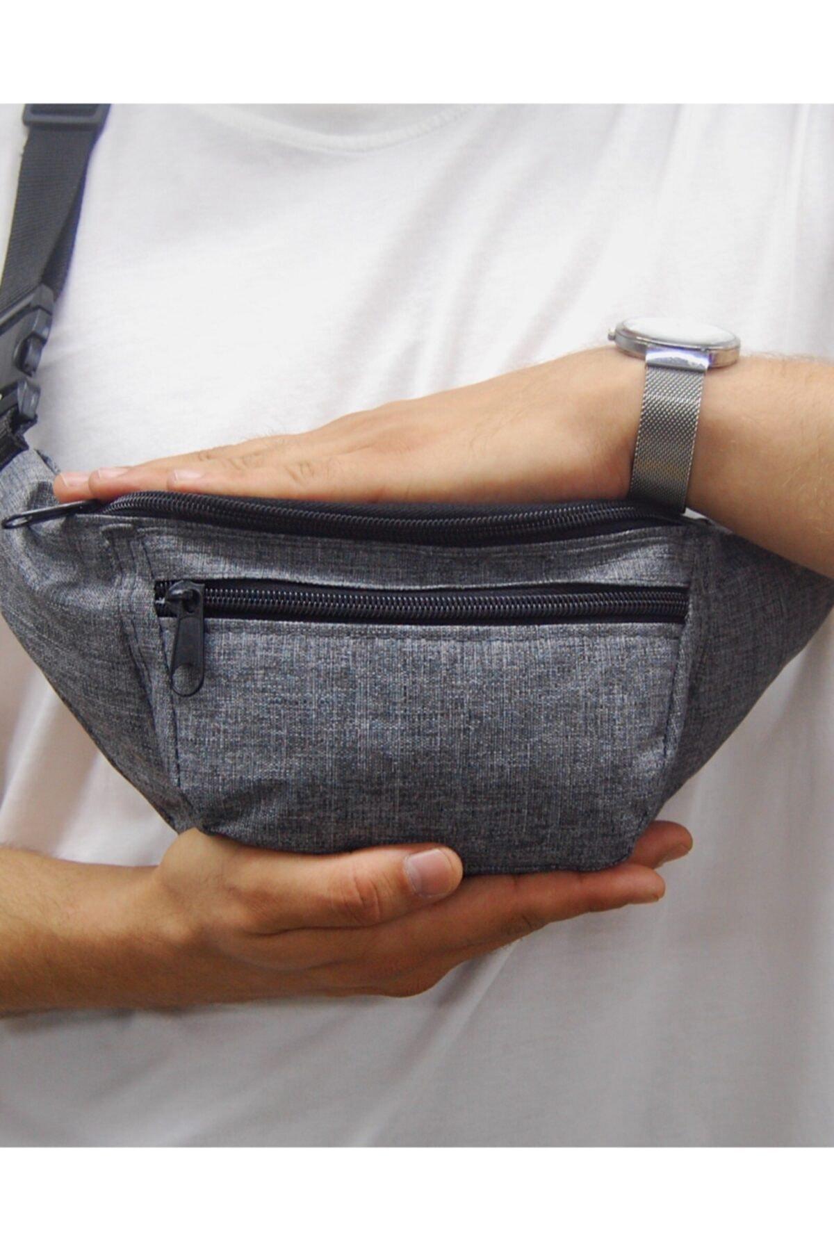 Moda West Unisex Gri Askılı Çapraz Omuz ve Bel Çantası 1