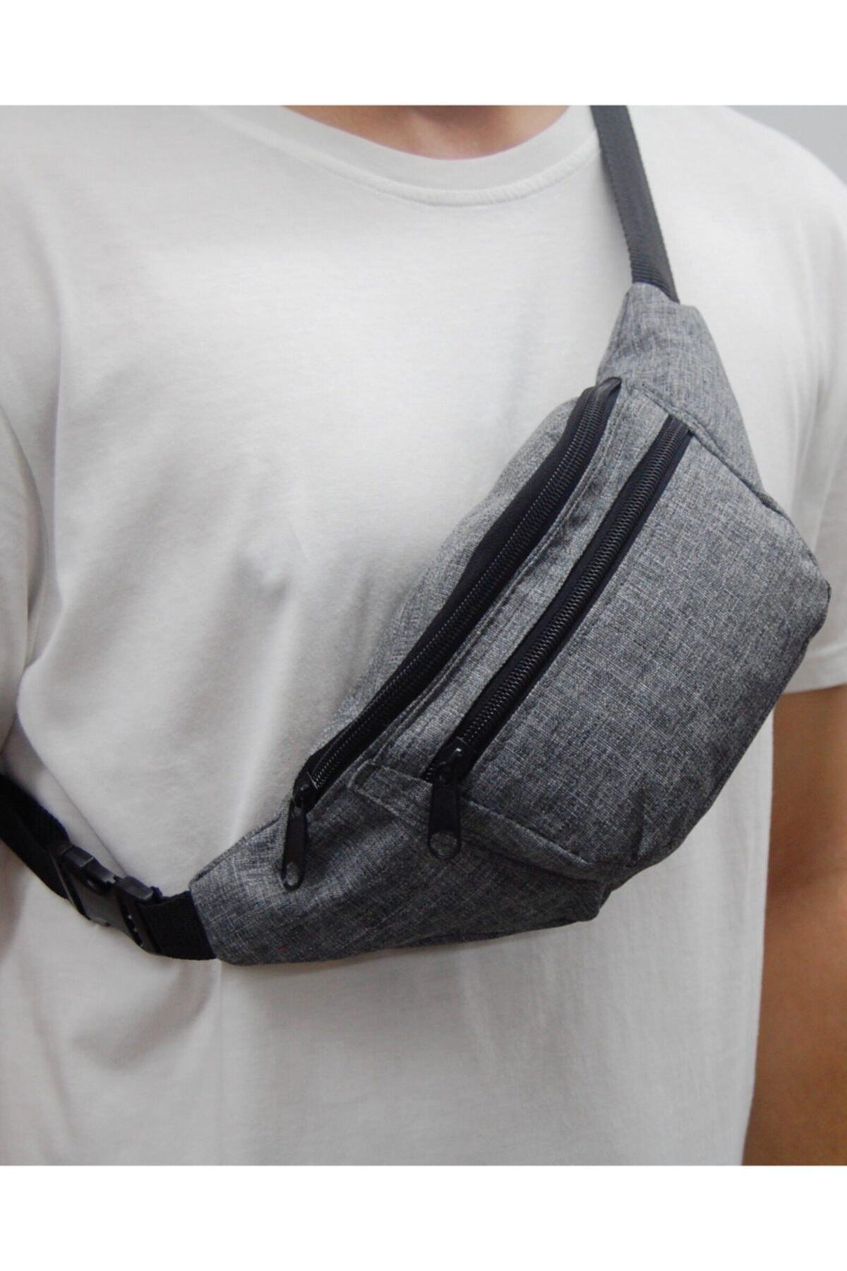 Moda West Unisex Gri Askılı Çapraz Omuz ve Bel Çantası 2