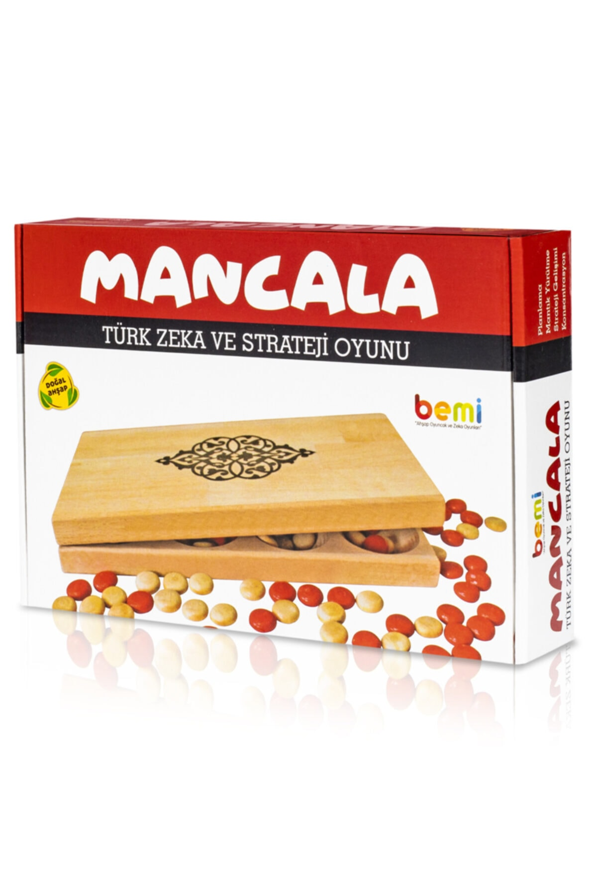 BEMİ Lüks Doğal Ahşap Kapaklı Mangala - Zeka Eğitici Strateji Çocuk ve Aile Oyunu 2