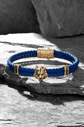 ATOLYESTONE Erkek Mavi Altın Sarısı Kaplan Deri Bileklik