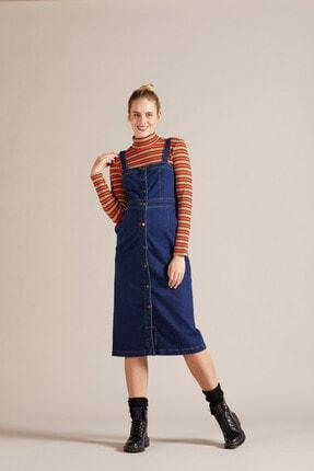 GEBE Kadın Mavi Askılı Jean Hamile Elbisesi