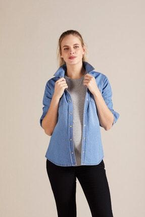 GEBE Kadın Mavi Jean Hamile Gömleği