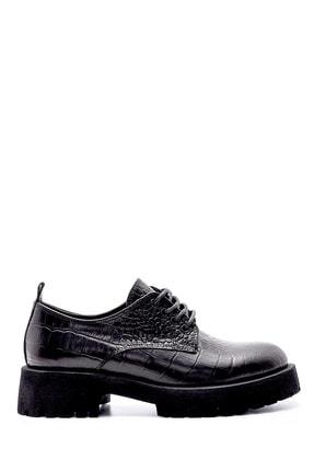 Derimod Kadın Siyah Deri Kroko Detaylı Ayakkabı
