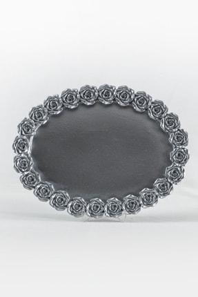 Eymense Gümüş Güllü Tepsi Dekoratif Obje