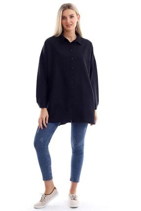 Butik Vanilin Kadın Siyah Salaş Cepli Uzun Kollu Düz Gömlek