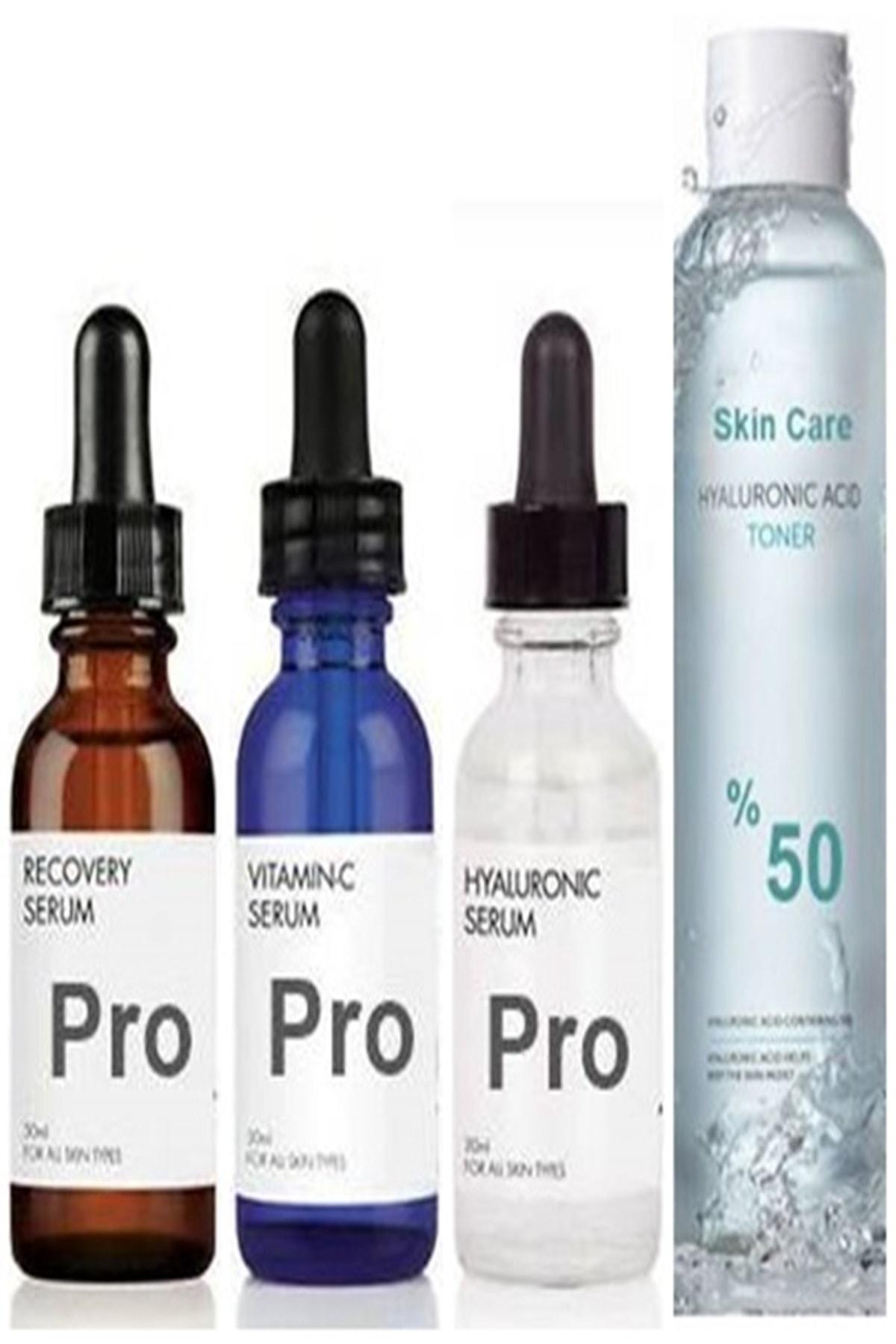 PRO Vitamin C-hyaluronic Asit-retinol Serum Set+skin Care Hyaluronic Acid Tonik 250ml 1