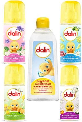 Dalin 5'li Set Hijyenel Antibakteriyel El Temizleme Jeli 500 ml -150 ml 4 Kolonya