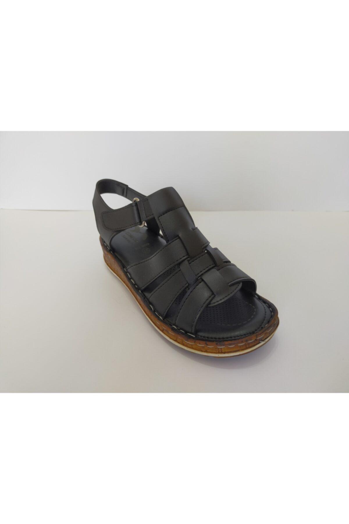 İpekçe  Kadın Siyah Ortapedik Sandalet 2