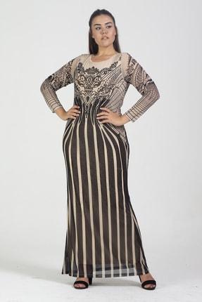 Şans Kadın Bej Taş İşlemeli Şifon Astarlı Uzun Abiye Elbise 65N17611