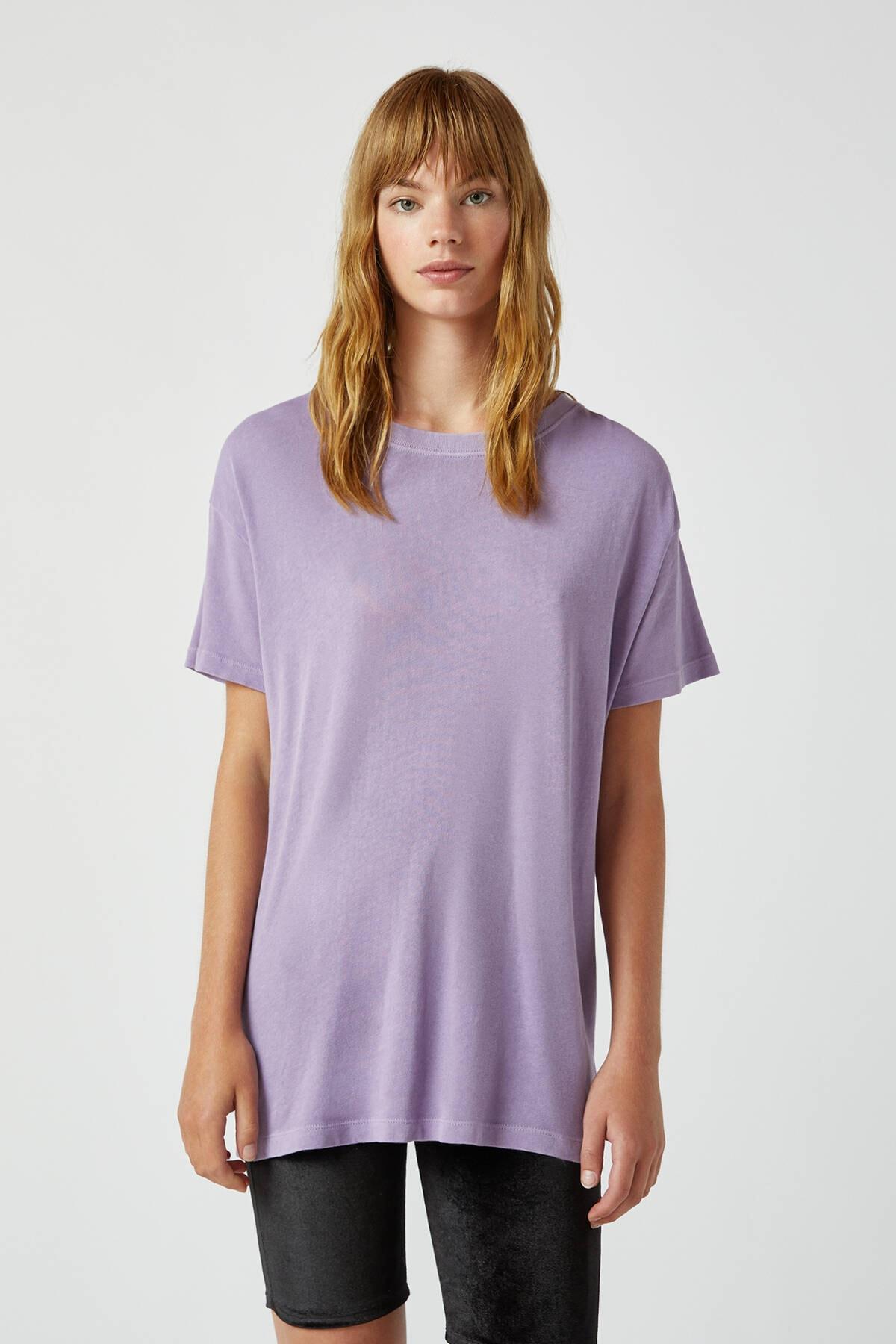 Pull & Bear Kadın Koyu Mor Soluk Efektli Basic Oversize T-Shirt 05236365 1