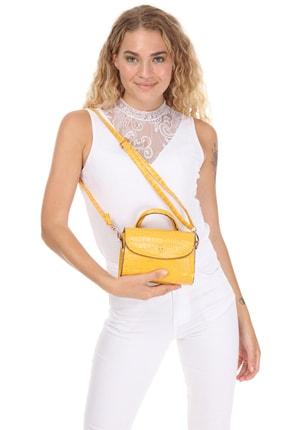 Lolinna Kadın Sarı Baguette Kroko Desen El Ve Omuz Çantası 5870