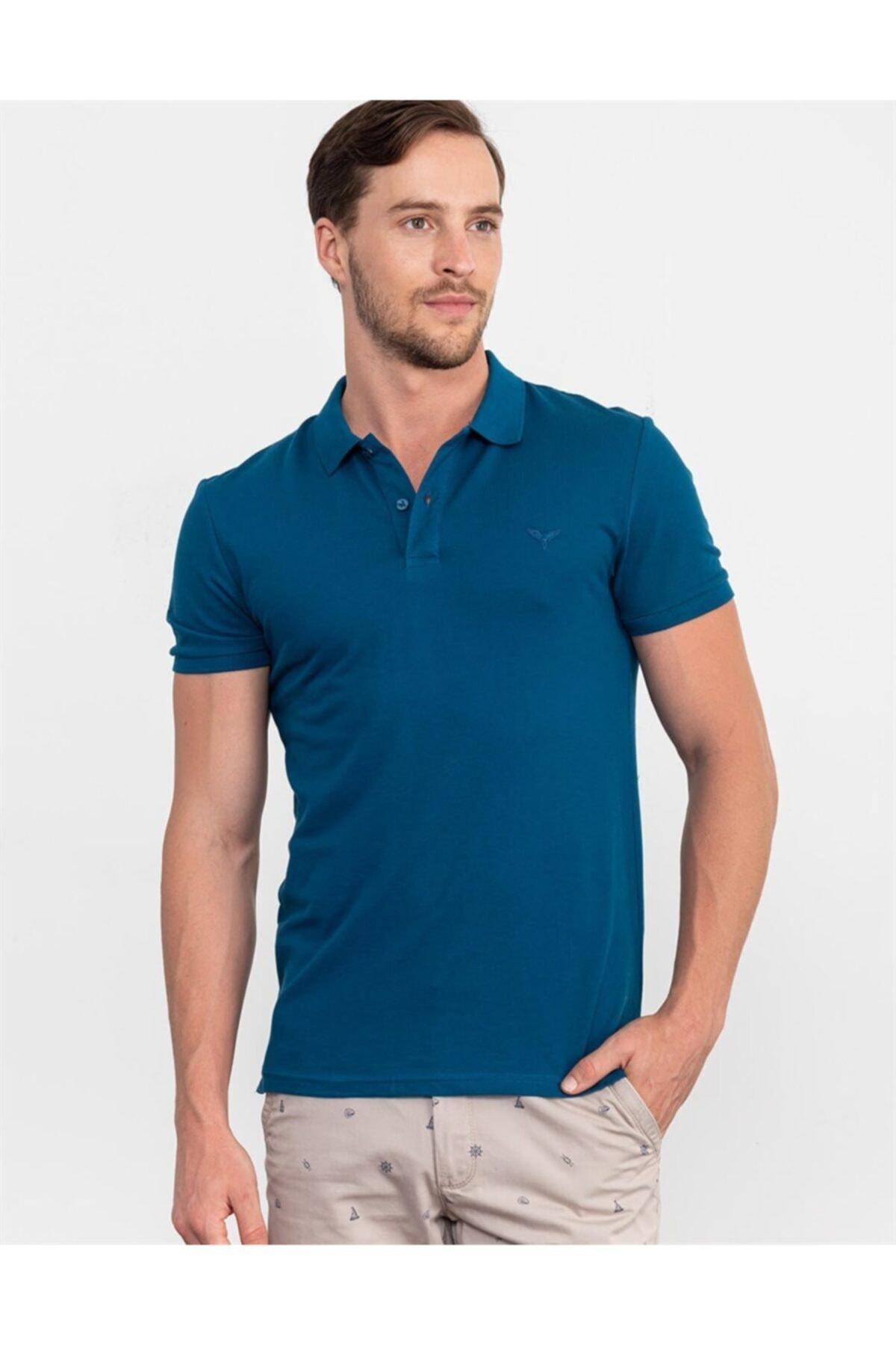 Tudors Erkek Slim Fit Düz Tshirt 1