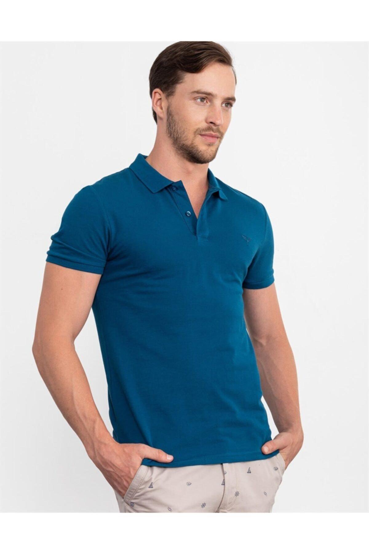 Tudors Erkek Slim Fit Düz Tshirt 2