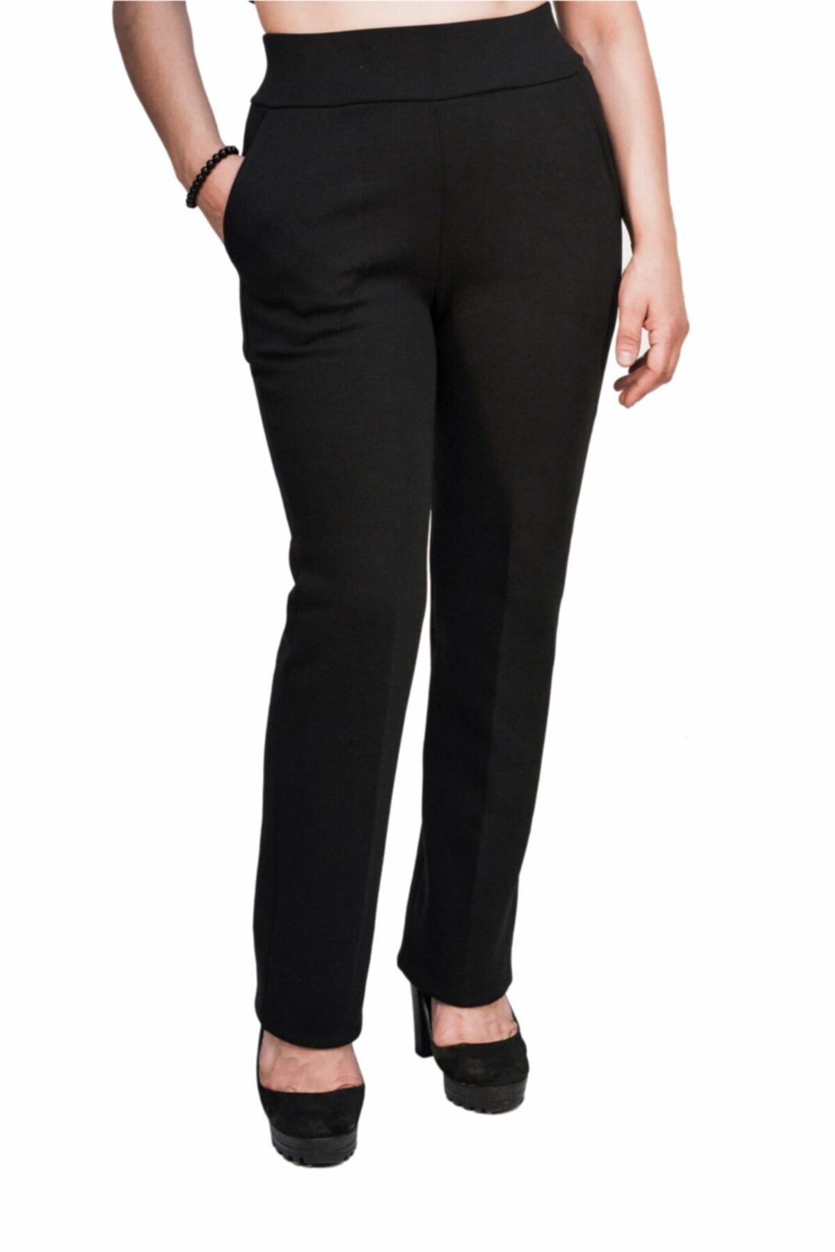 Otto Kadın Siyah Klasik Yüksek Kemer Dar Paça Pantalon 1