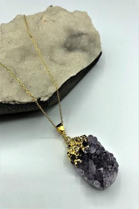 Dr. Stone Luxury Uruguay Ametisti Taşı El Yapımı 22k Altın Kaplama 925 Ayar Gümüş Kadın Kolye Krb255