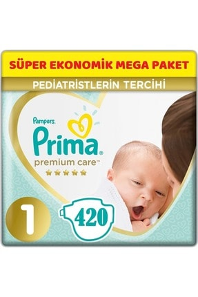 Prima Premium Care Bebek Bezi Beden:1 (2-5kg) Yeni Doğan 420 Adet Süper Ekonomik Mega Pk