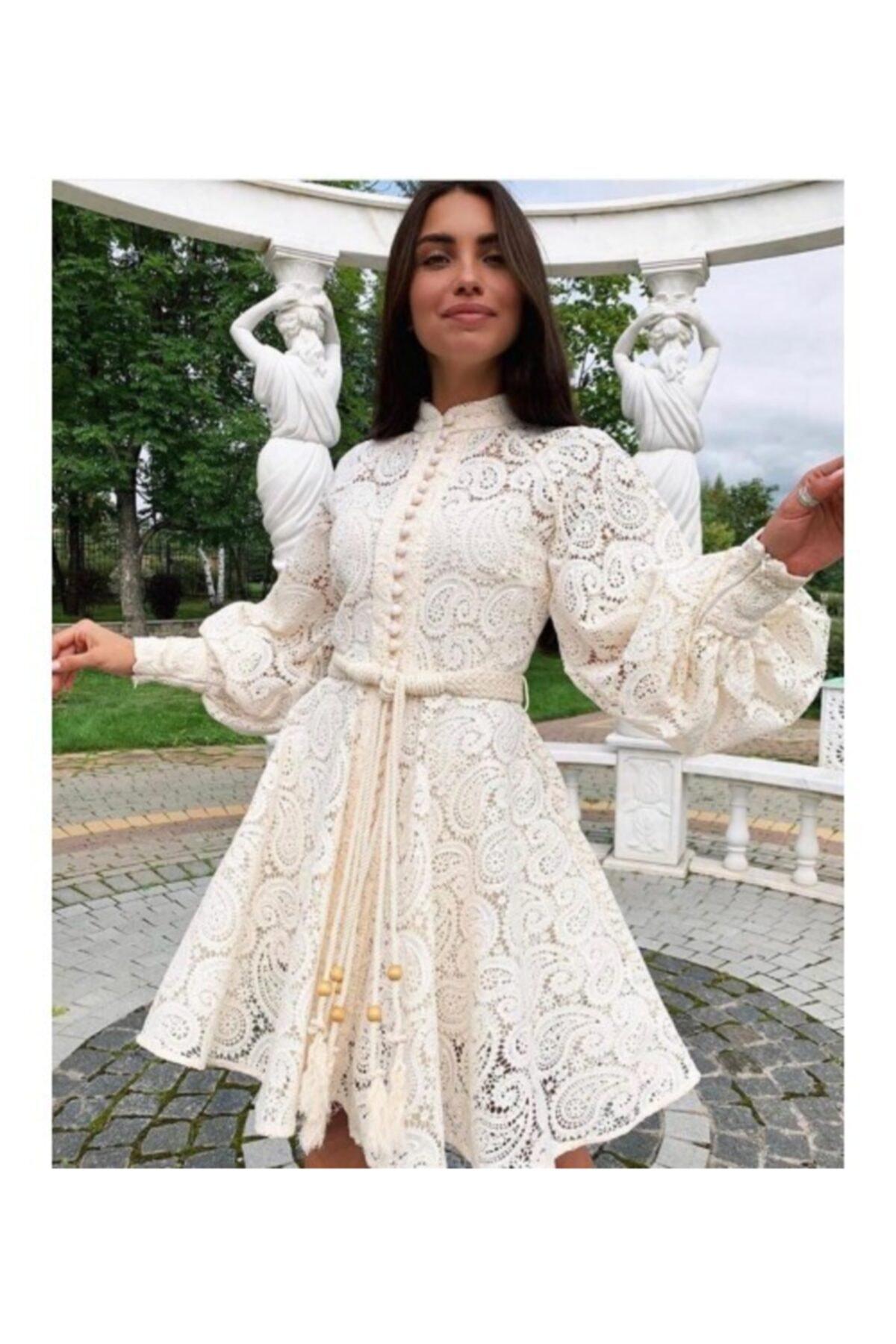 Ahsenserra Kadın Beyaz Gracia Güpür Elbise 2