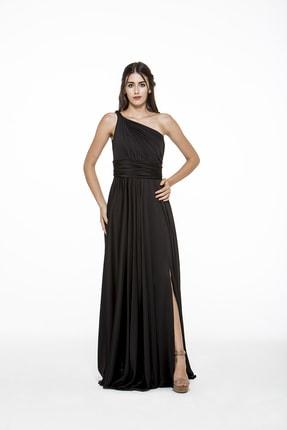 MAXXE Kadın Siyah Helen Tek Omuz Saten Elbise 4923ST