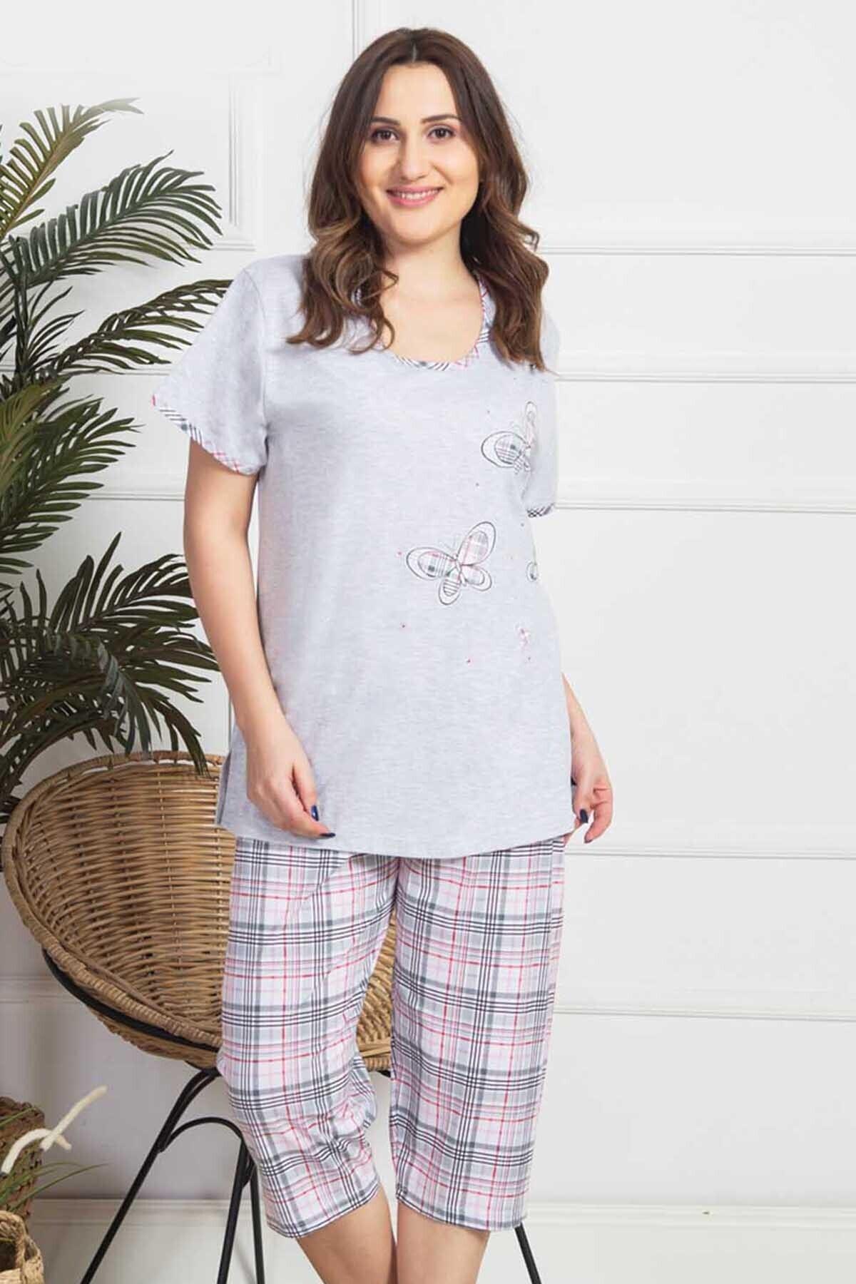 VİENETTA Kadın Gri Kısa Kol Penye Suprem Kaprili Pijama Takım 1