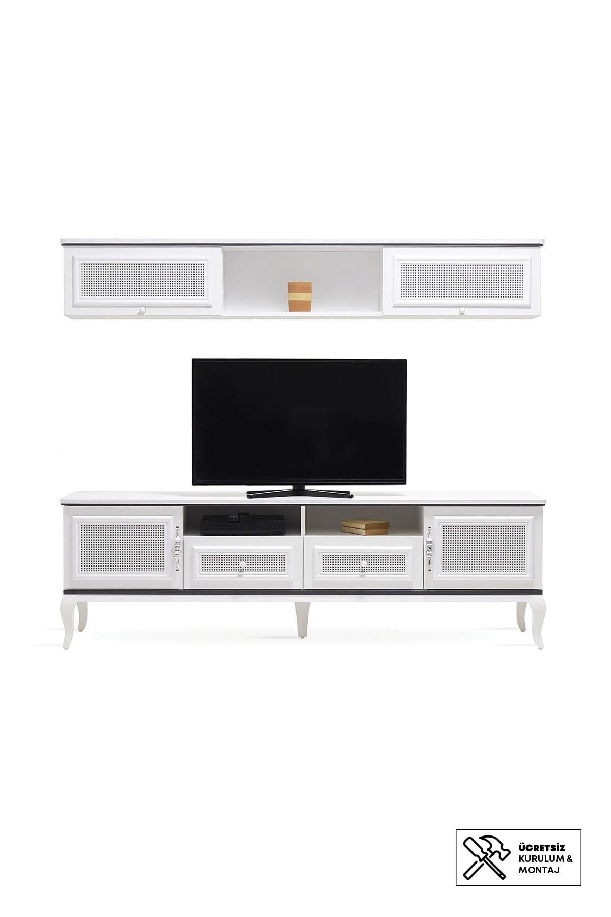Enza Home Rattan Tv Ünitesi Seti (190X204X50 Cm)