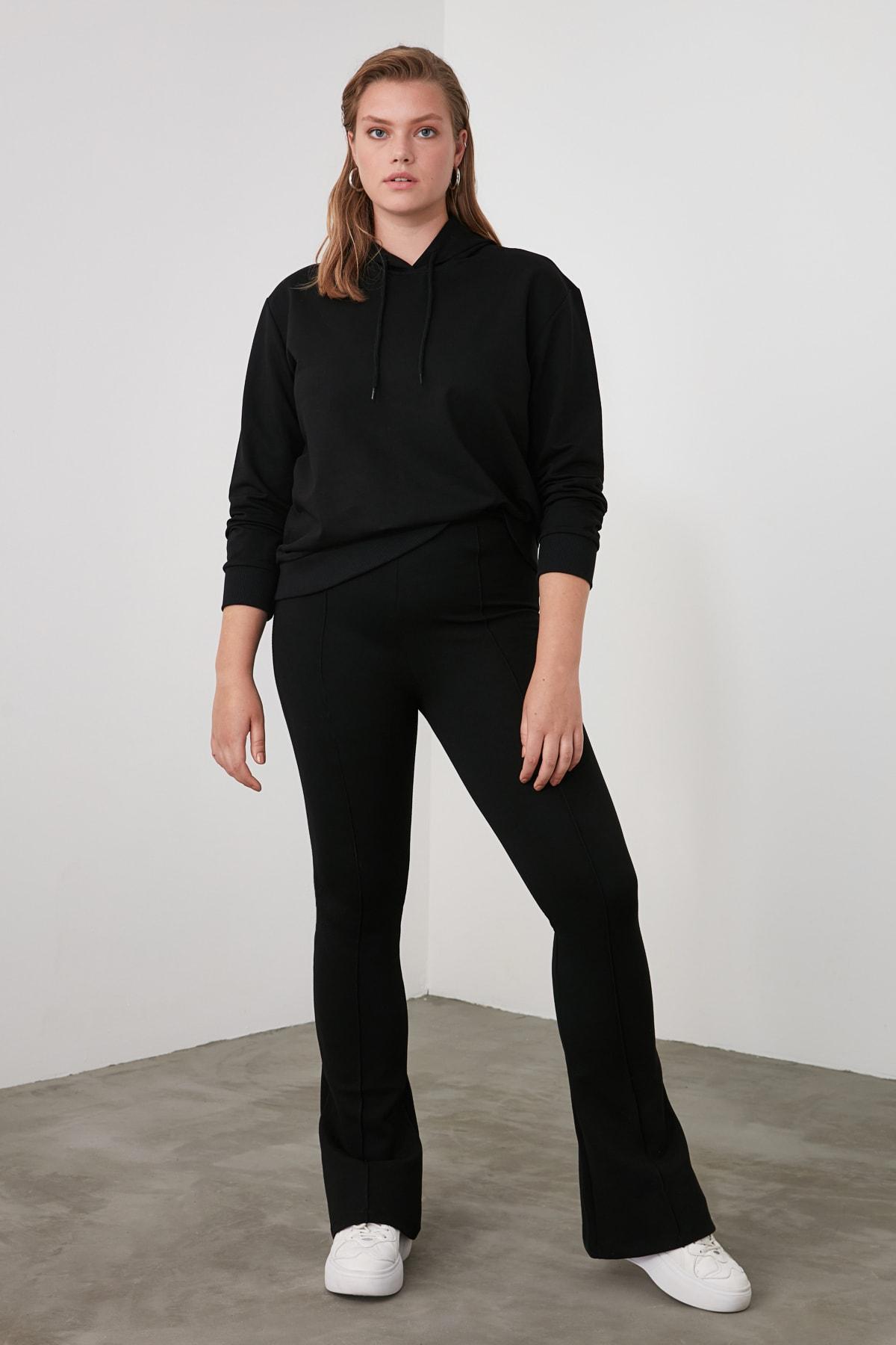 TRENDYOLMİLLA Siyah Flare Örme Pantolon TWOSS20PL0342 2
