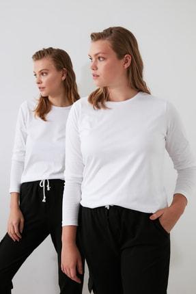 TRENDYOLMİLLA Beyaz Uzun Kollu Bisiklet Yaka Basic Örme T-Shirt TWOAW21TS0098