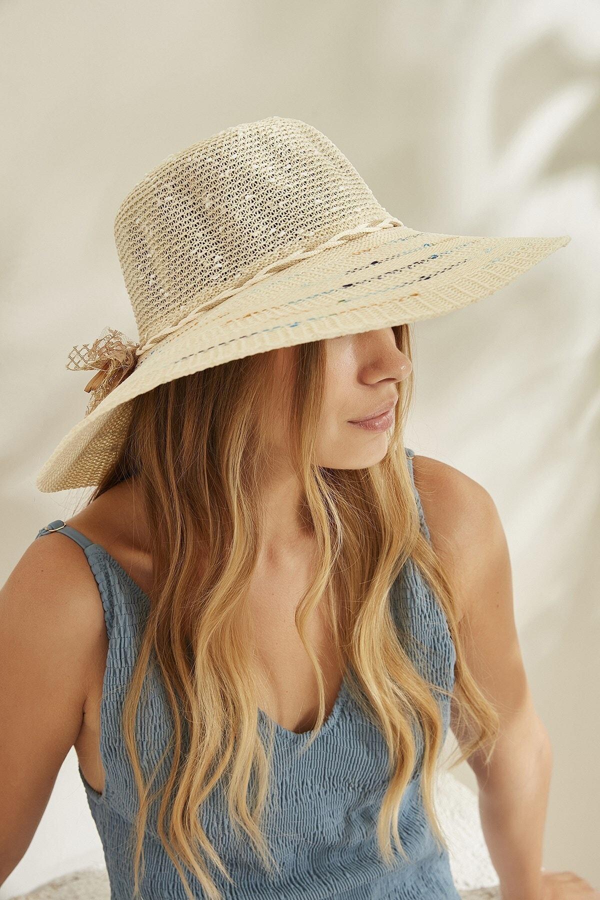 C&City Kadın Merserize Hasır Şapka T2740-08 Ekru 1