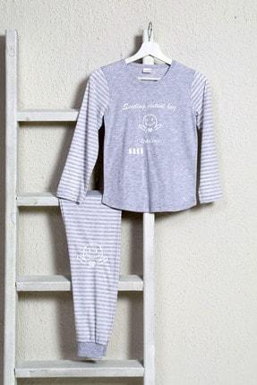 VİENETTA Kadın Gri Uzun Kol Penye Pijama Takım