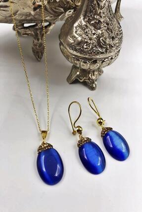 Dr. Stone Harem Koleksiyonu Kedigözü Taşı El Yapımı 925 Ayar Gümüş Set Gdr6