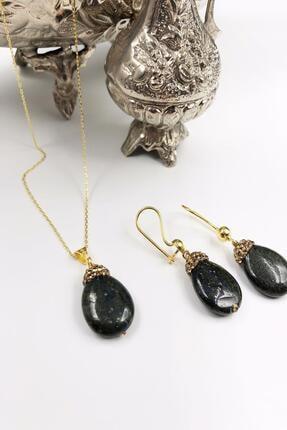Dr. Stone Harem Koleksiyonu Lapis Lazuli Taşı El Yapımı 925 Ayar Gümüş Set Gdr8