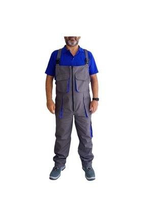 Endüstri Giyim Gri/saks Askılı Bahçıvan Tulum Iş Tulumu Iş Elbisesi Iş Güvenliği