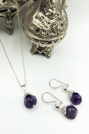 Dr. Stone Harem Koleksiyonu Ametist Taşı El Yapımı 925 Ayar Gümüş Set Gdr13