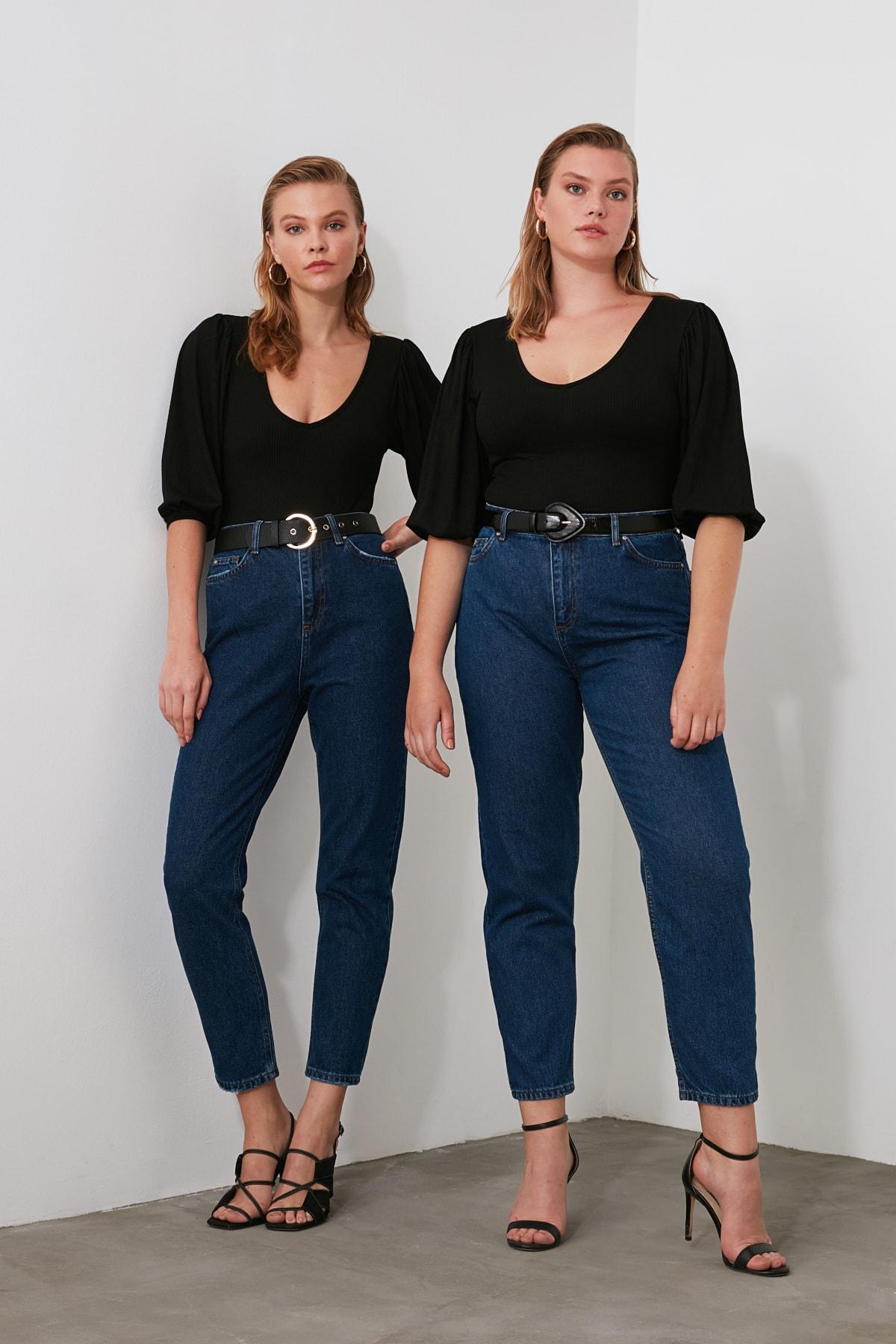 TRENDYOLMİLLA Lacivert Yüksek Bel Mom Jeans TWOSS20JE0108 1
