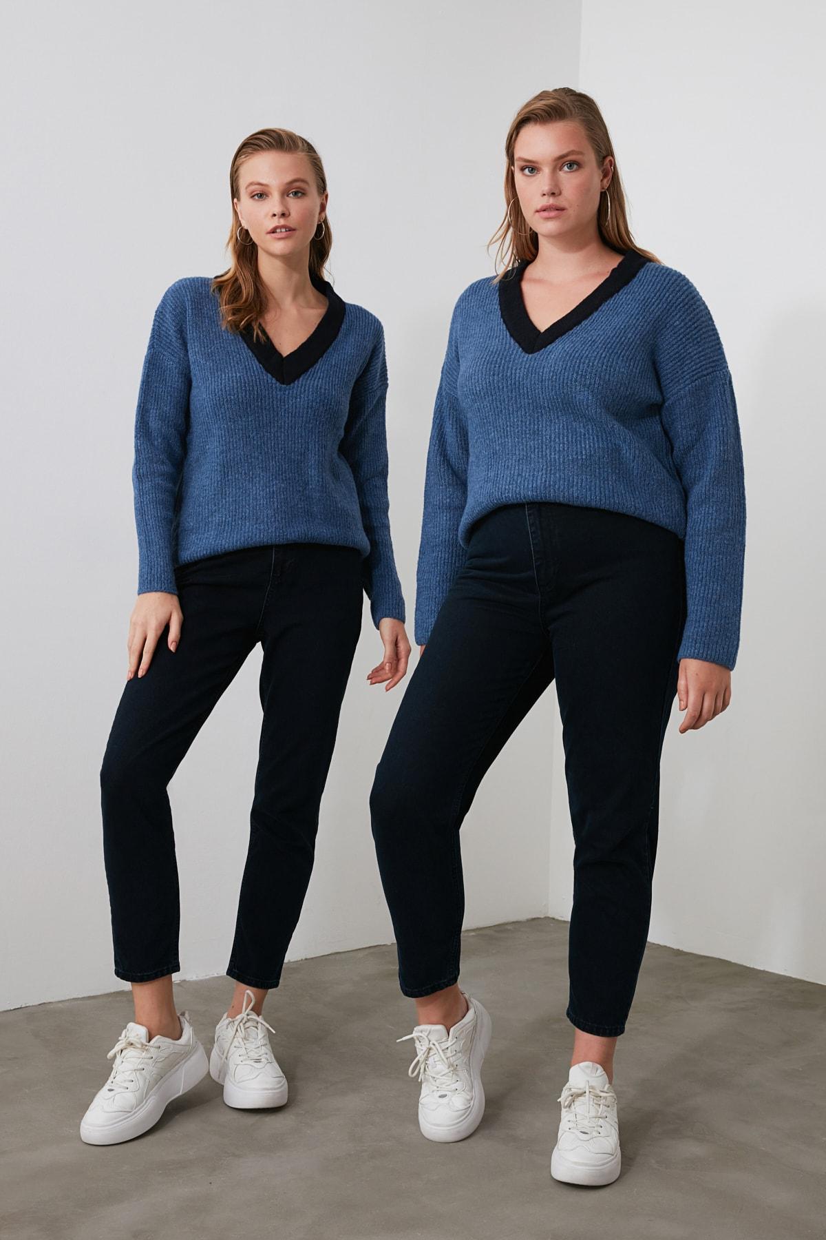 TRENDYOLMİLLA Gece Mavisi Yüksek Bel Mom Jeans TWOSS20JE0108 1