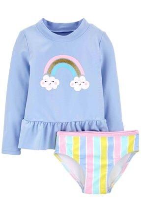 Carter's Kız Bebek Mavi Güneş Koruyu Mayo Set
