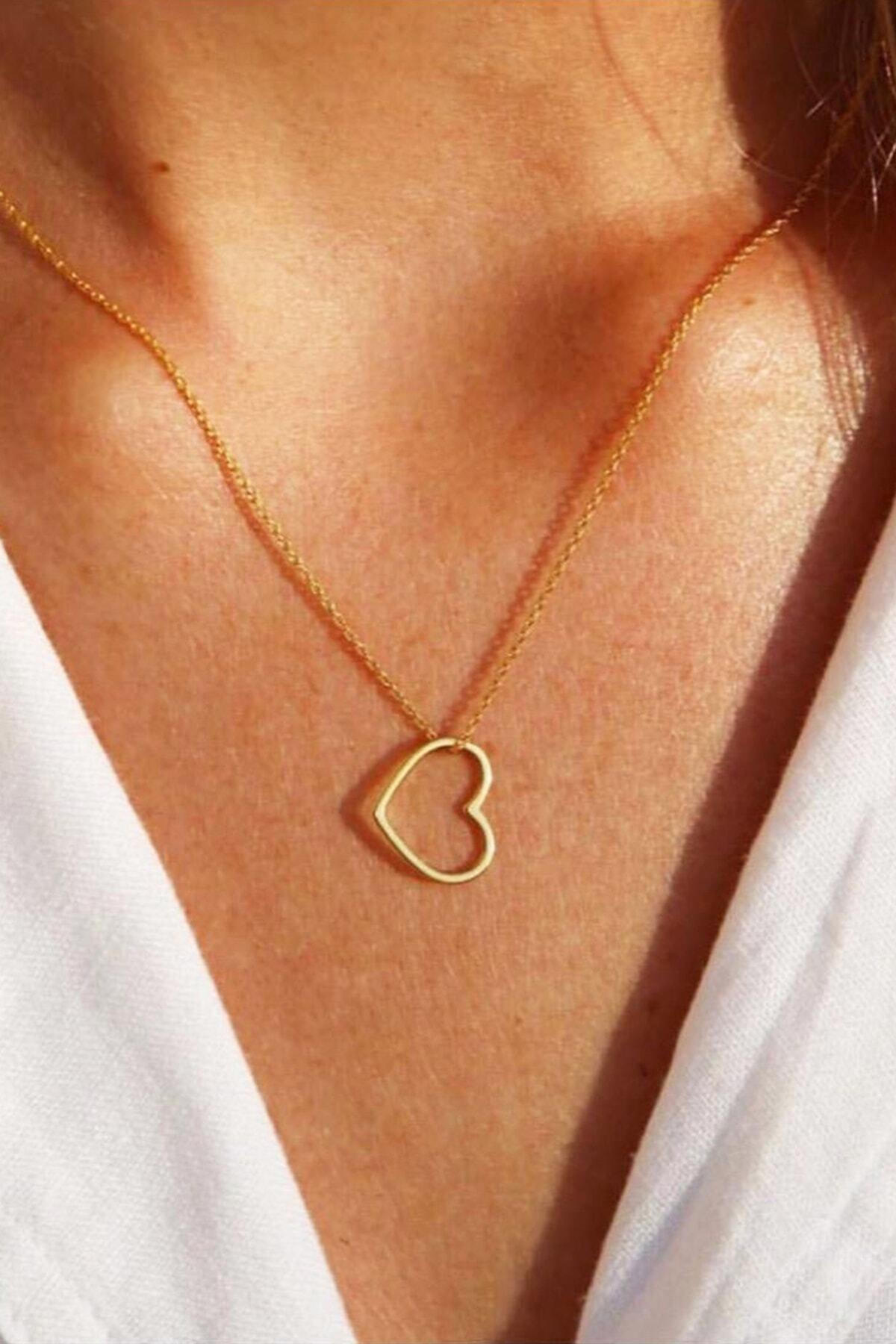 dalmarkt Kadın Sarı Kalp Kolye 1