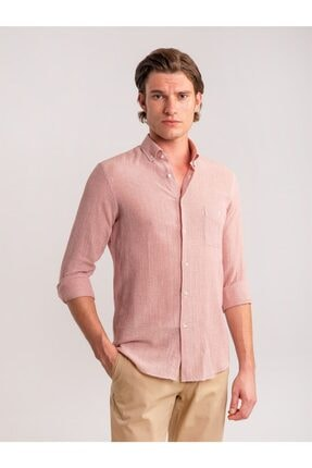 Dufy Erkek Kırmızı Çizgili Keten Karışımlı Nefes Alabilen Slım Fıt Gömlek