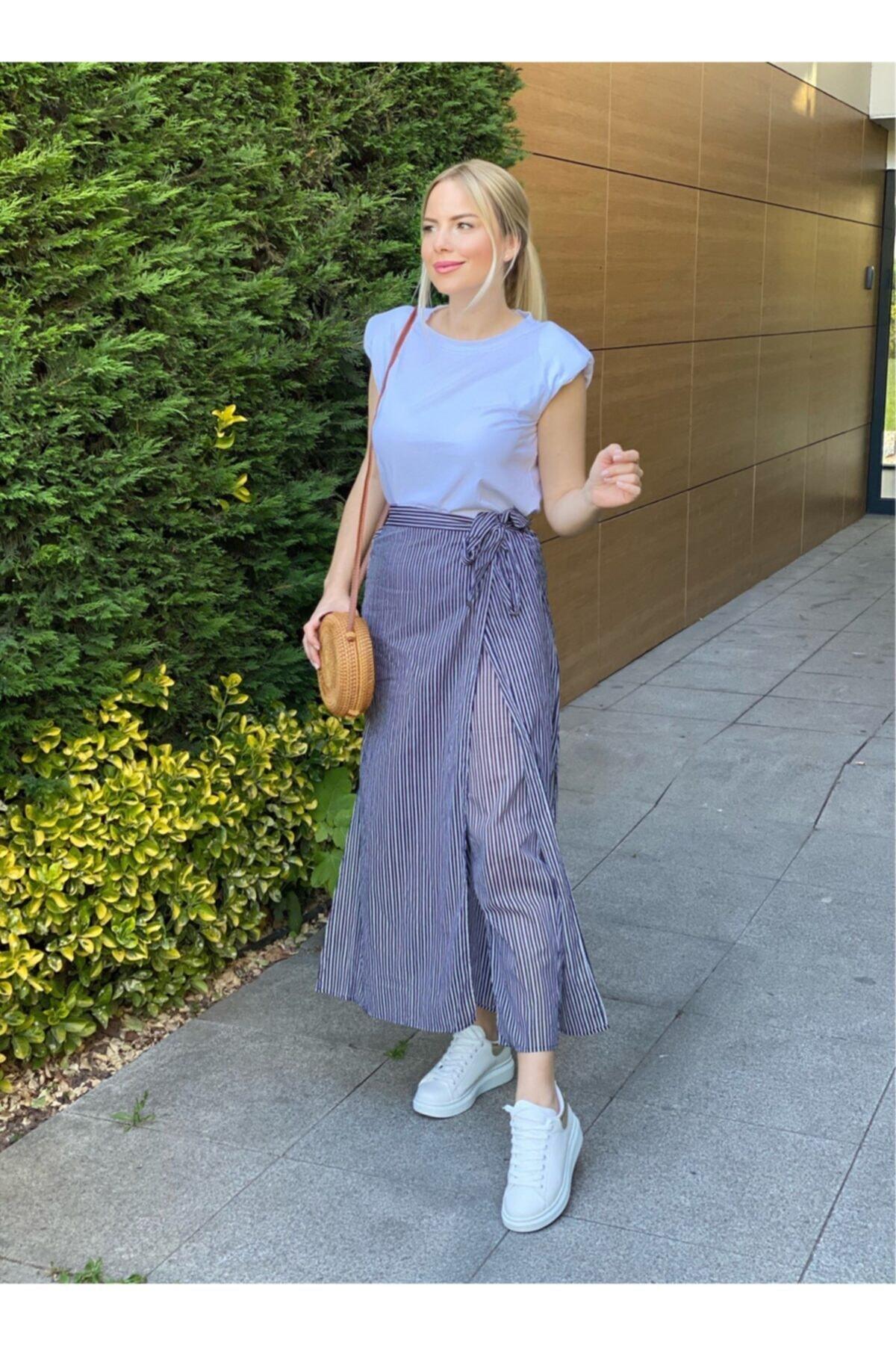 Oblavion Kadın Lacivert Çizgili Pantolon Etek 1