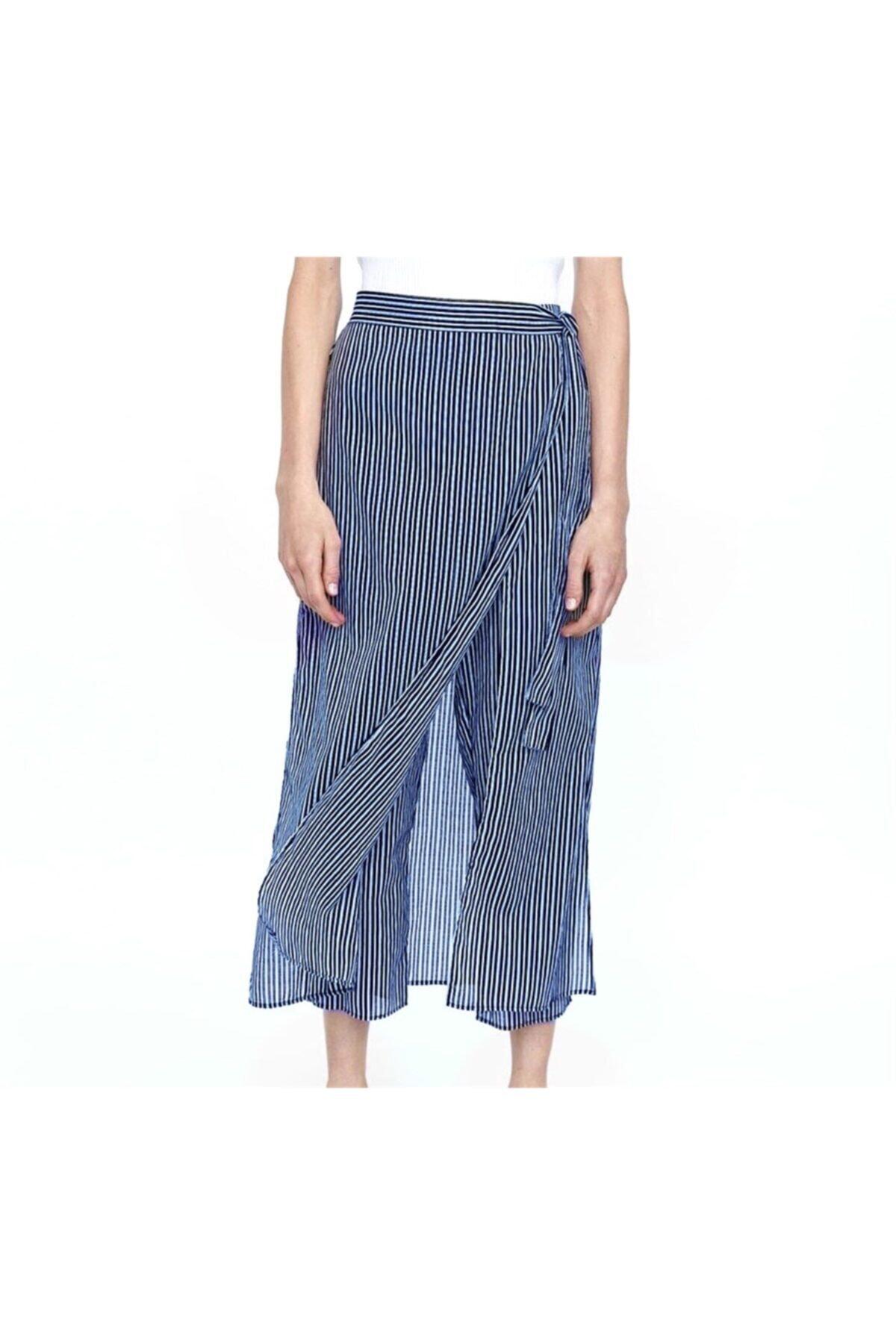 Oblavion Kadın Lacivert Çizgili Pantolon Etek 2