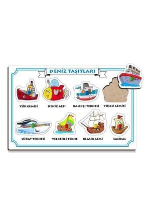 Halk Kitabevi Deniz Taşıtları Renkli Tutacaklı Zeka Geliştirici Ahşap Puzzle