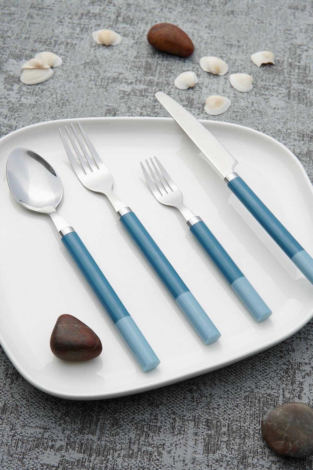ACAR Laura Paslanmaz Çelik 24 Parça Kaşık Çatal Bıçak Takımı - Mavi 1